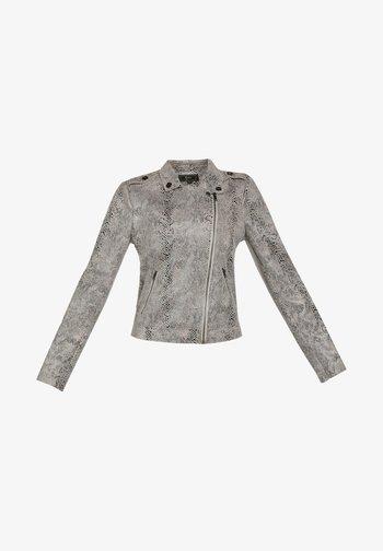 MIT SCHLANGENPRINT - Imitatieleren jas - grey