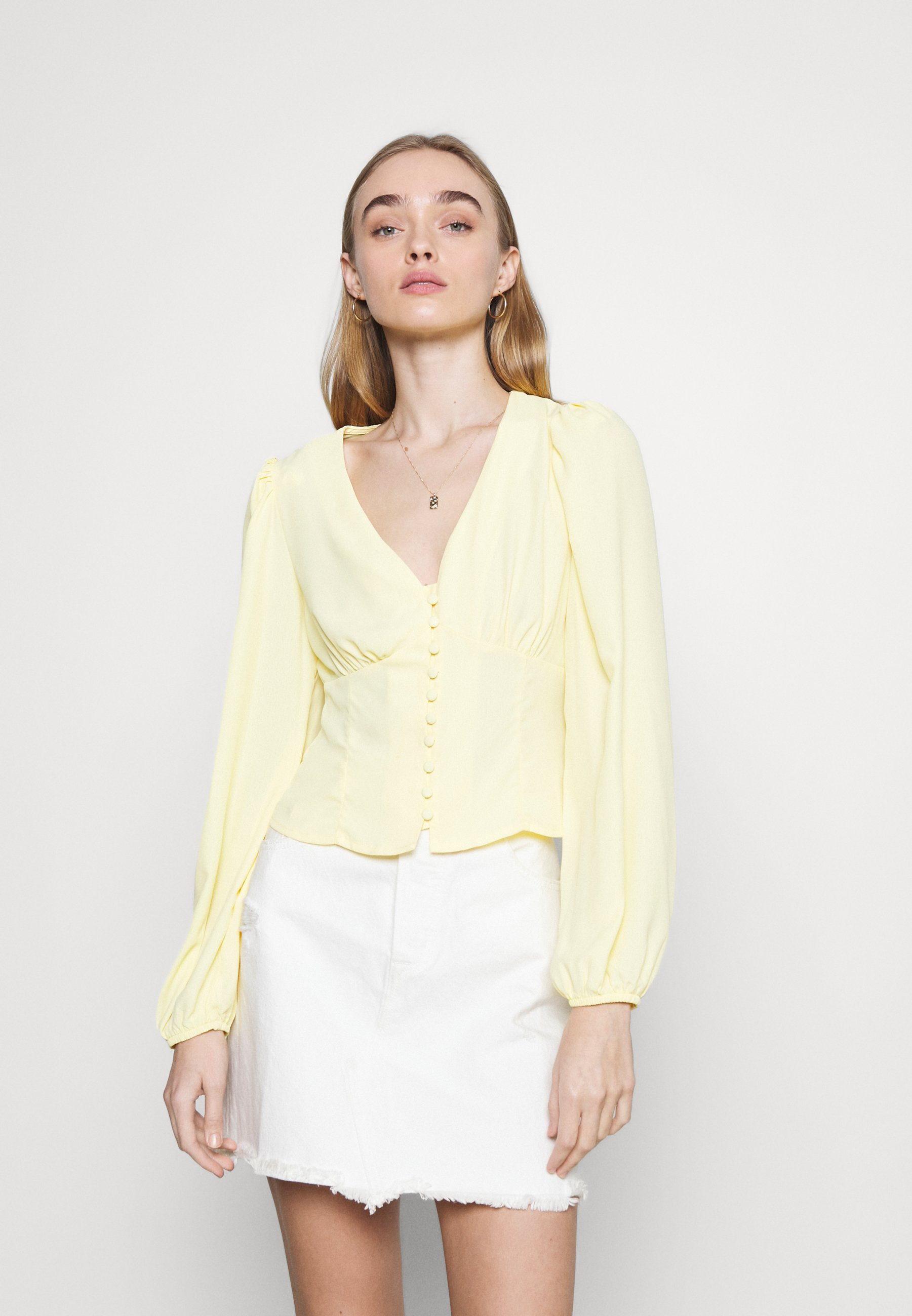 Women BUTTON FRONT BLOUSE WITH PLUNGING NECKLINE AND LONG SLEEVES - Blouse