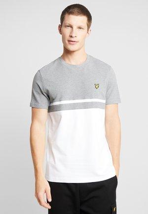 PANEL STRIPE - T-shirt con stampa - grey marl/ white