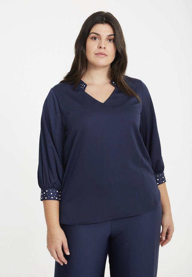 MIT PERLEN - Blouse - navy blue
