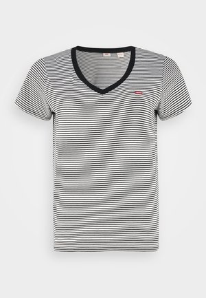 V NECK TEE - Print T-shirt - black