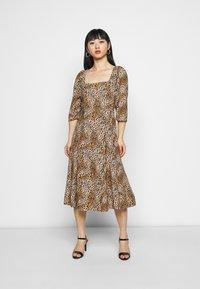 Dorothy Perkins Petite - ANIMAL SQUARE NECK MIDI DRESS - Day dress - brown - 3
