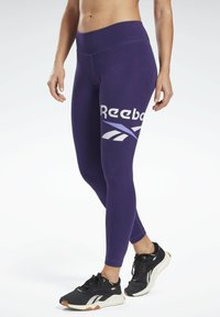 Reebok - COTTON ELEMENTS WORKOUT LEGGINGS - Leggings - purple - 0