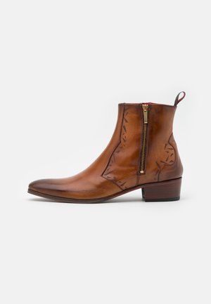 CARLITO DOUBLE ZIP BOOT - Cowboy/biker ankle boot - lavato tan