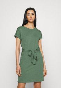 Even&Odd - BASIC - Short sleeves mini belted dress - Jersey dress - khaki - 0
