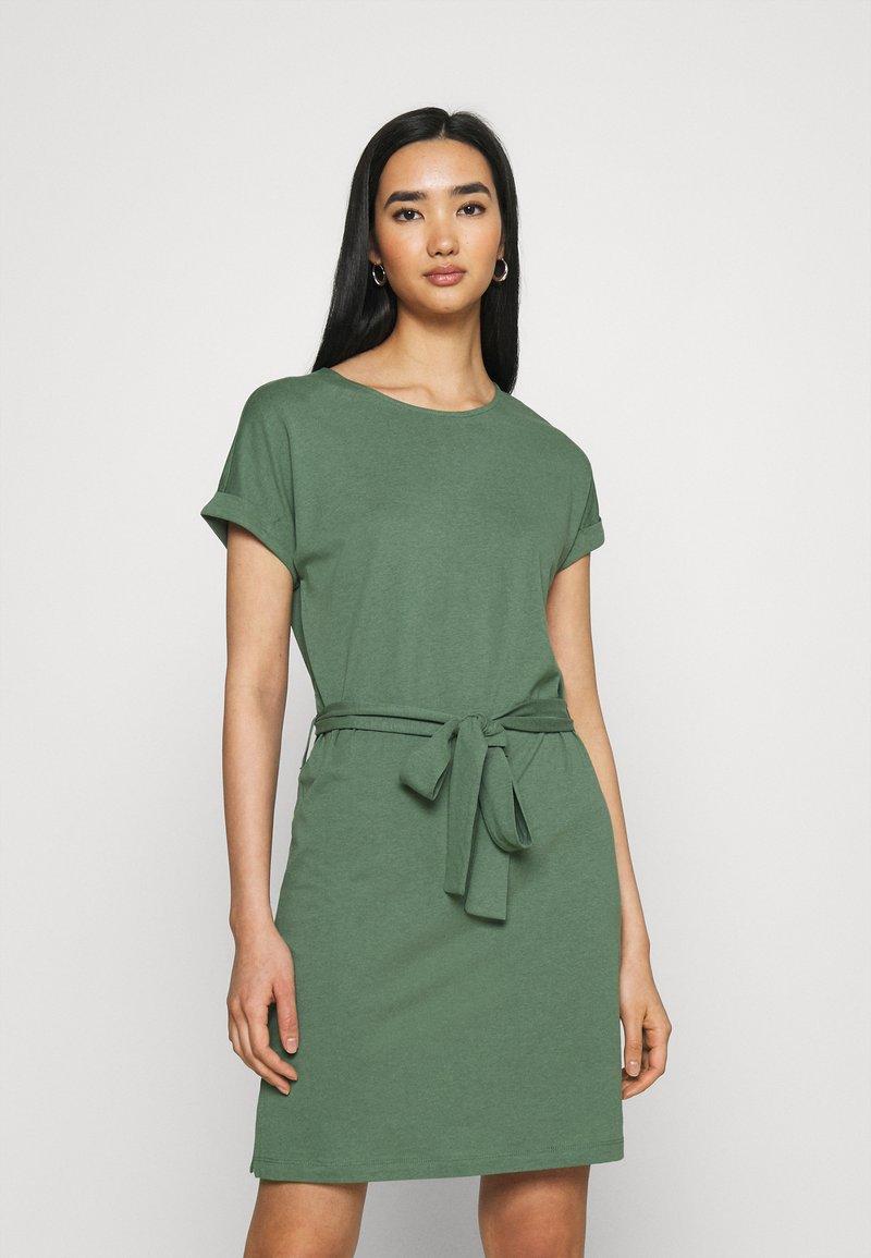 Even&Odd - BASIC - Short sleeves mini belted dress - Jersey dress - khaki