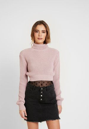 CROP ROLL NECK - Strikkegenser - dusty pink