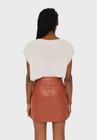 Stradivarius - Leather skirt - brown - 2