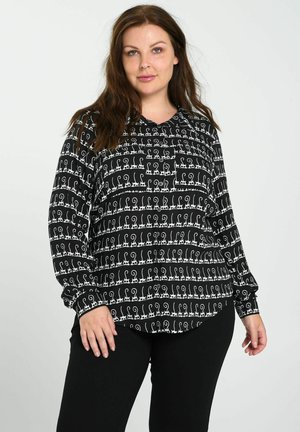 MIT AUFGEDRUCKTEN TIERFIGUREN - Button-down blouse - black / ecru