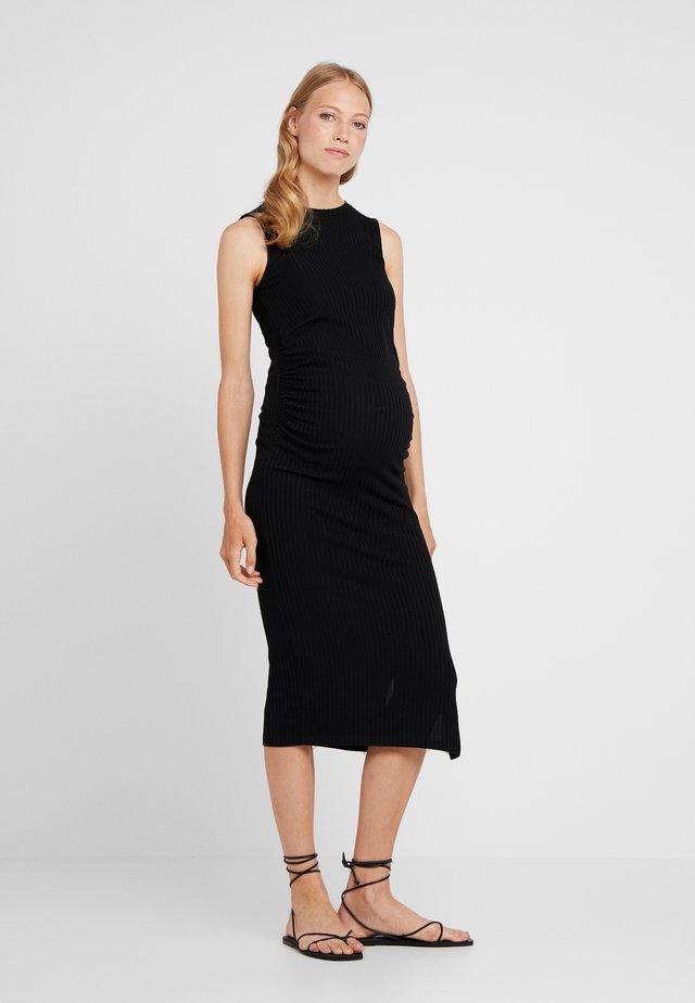 RUCHED SIDE DRESS - Žerzejové šaty - black