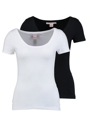 2 PACK  - T-shirts - black/white