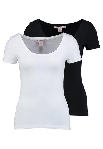 2 PACK  - T-shirts - black/white