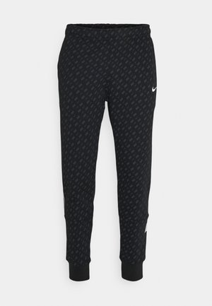 REPEAT PRINT - Pantalones deportivos - black/white