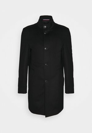 SOLID STAND UP COLLAR COAT - Classic coat - black