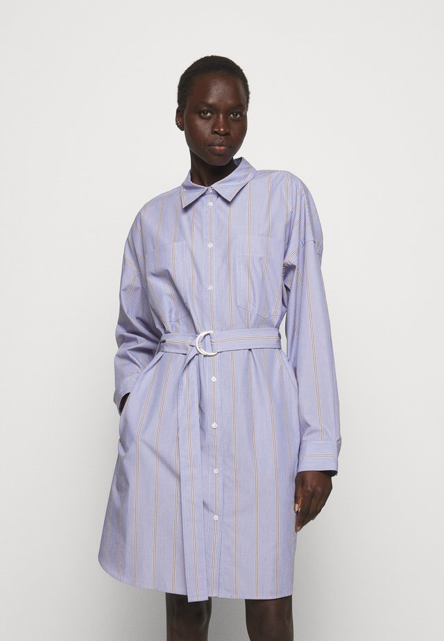 STRIPED BUTTON UP SHIRT DRESS - Blousejurk - blue/multi