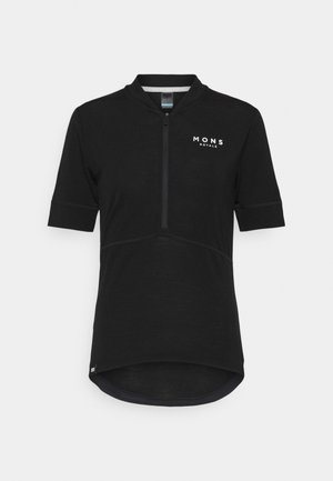 CADENCE HALF ZIP - Print T-shirt - black