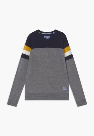 JJTUCKER CREW NECK - Pullover - dark blue/mustard yellow