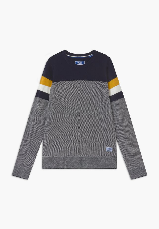 JJTUCKER CREW NECK - Jersey de punto - dark blue/mustard yellow