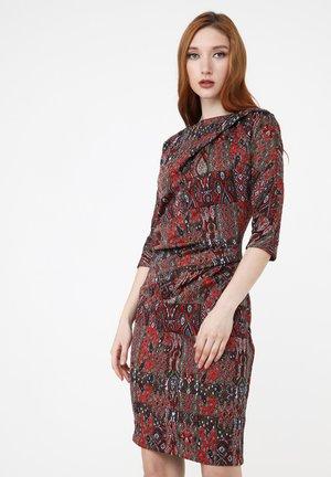 Shift dress - terrakotta/ khaki
