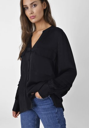 PINTUCK   - Button-down blouse - black