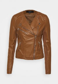 Vero Moda Tall - VMRIAFAVO SHORT COATED JACKET - Faux leather jacket - cognac - 3