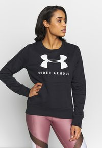 Under Armour - RIVAL FLEECE SPORTSTYLE GRAPHIC CREW - Sudadera - black/onyx white - 0