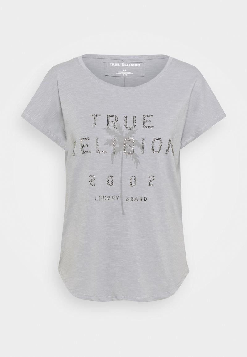 True Religion - BOXY CREW NECK PALM TREE - Triko spotiskem - frost