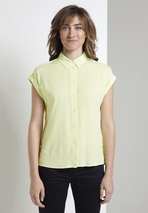 Button-down blouse - yellow white vertical stripe