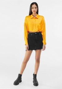 Bershka - HIGH WAIST - Denim skirt - black - 1