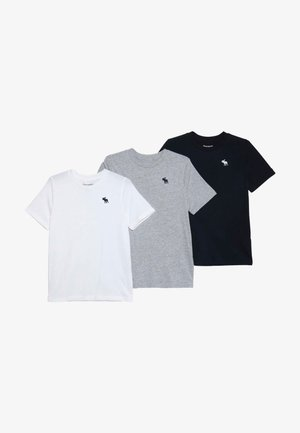 CREW 3 PACK - T-shirt med print - navy/white/grey