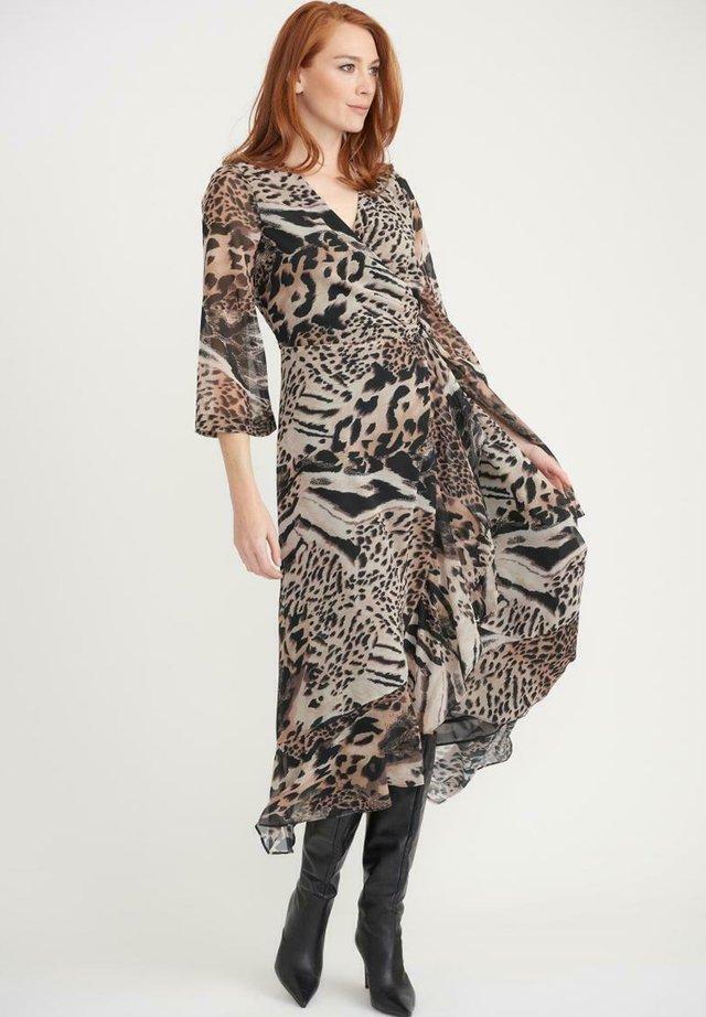 Day dress - black white brown