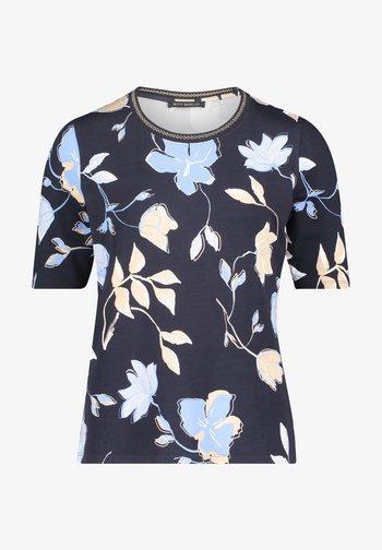 Print T-shirt - dark blue beige