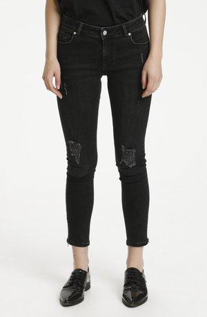 Slim fit jeans - black damage wash