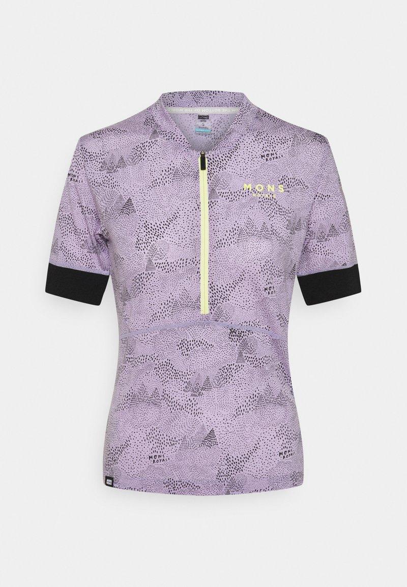 Mons Royale - CADENCE HALF ZIP - T-Shirt print - lilac micro