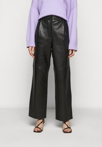 Lovechild - LUCAS - Leather trousers - black - 0