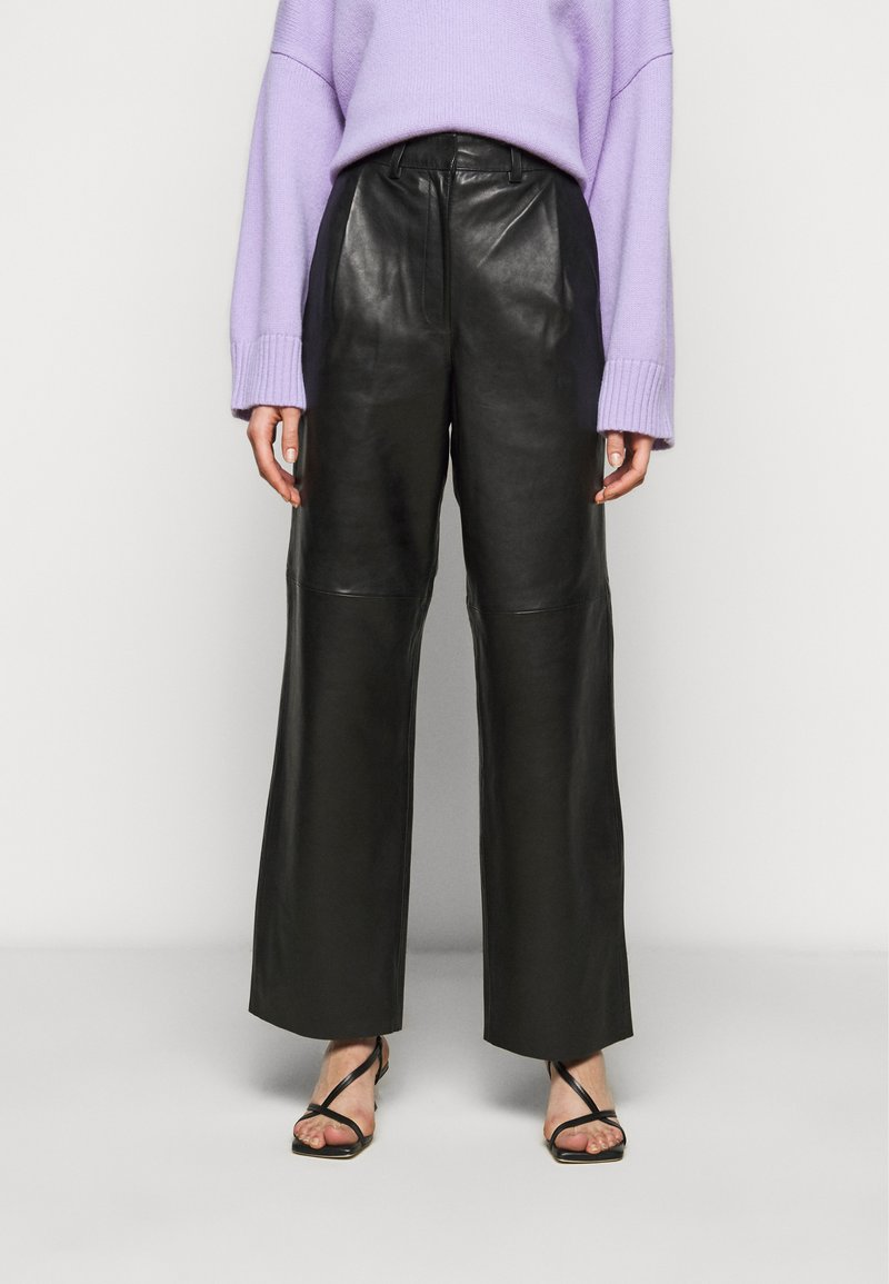 Lovechild - LUCAS - Leather trousers - black