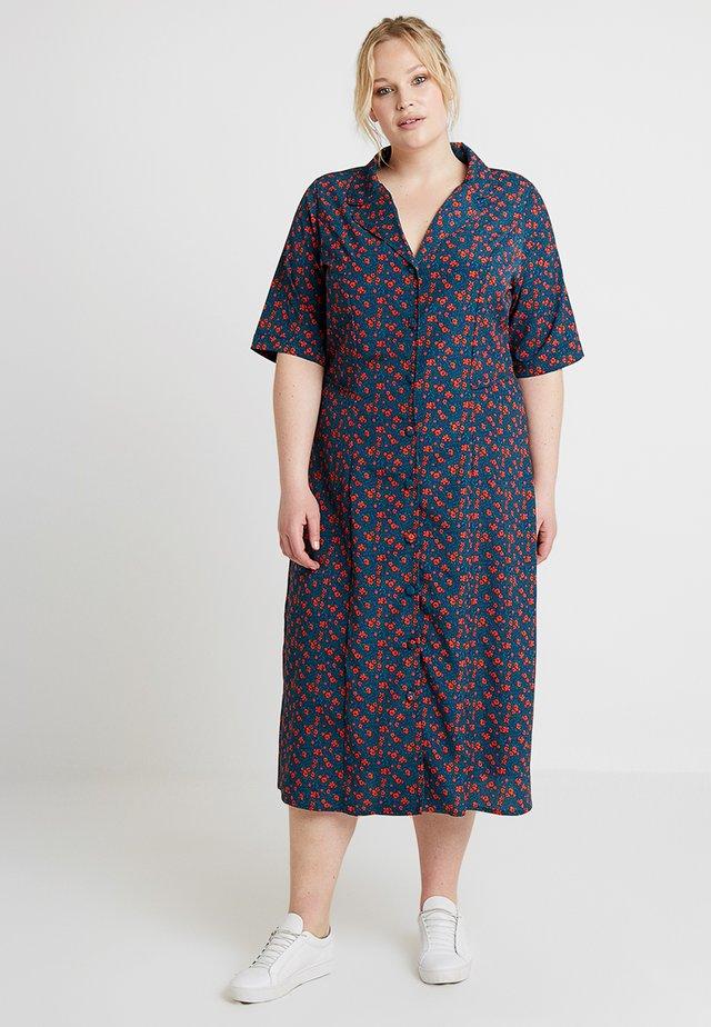 FLORAL PRINT MIDI DRESS - Day dress - dark blue