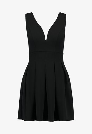 EXCLUSIVE V-NECK MINI DRESS - Trikoomekko - black