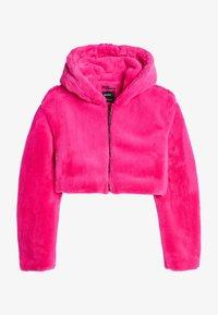 Bershka - MIT KAPUZE - Fleecová bunda - neon pink - 4