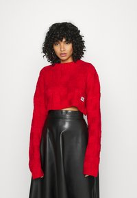 The Ragged Priest - CHUNKY WAFFLE STITCH SUPER CROPPED  - Jumper - red - 0