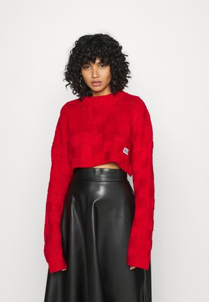 CHUNKY WAFFLE STITCH SUPER CROPPED  - Pullover - red