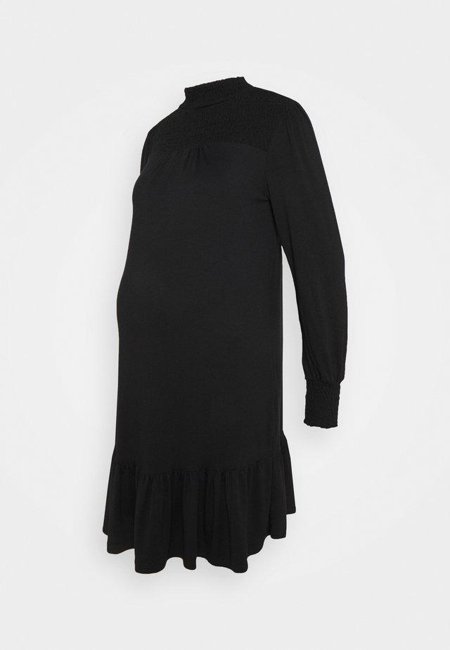 SHIRRED YOKE DRESS - Žerzejové šaty - black