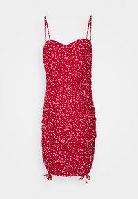 Missguided Petite - HEART PRINT RUCHED MINI DRESS - Shift dress - red - 0