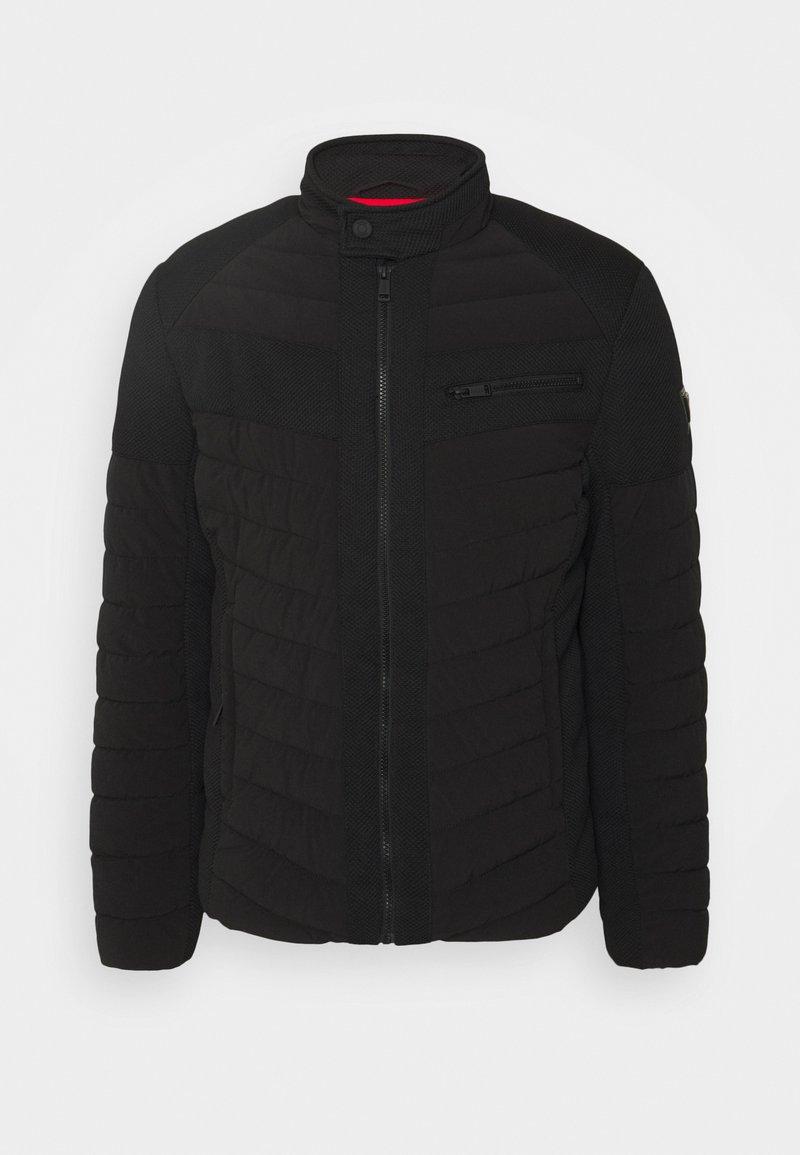 Guess - STRETCH MIXED BIKER - Light jacket - jet black