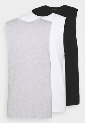 ESSENTIAL MUSCLE T-SHIRT 3 PACK - Top - black/white/light grey marle
