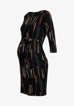 MLIVORY DRESS - Jersey dress - black/snow white/midnight navy