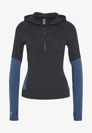 HOODED - Funktionsshirt - black/blue
