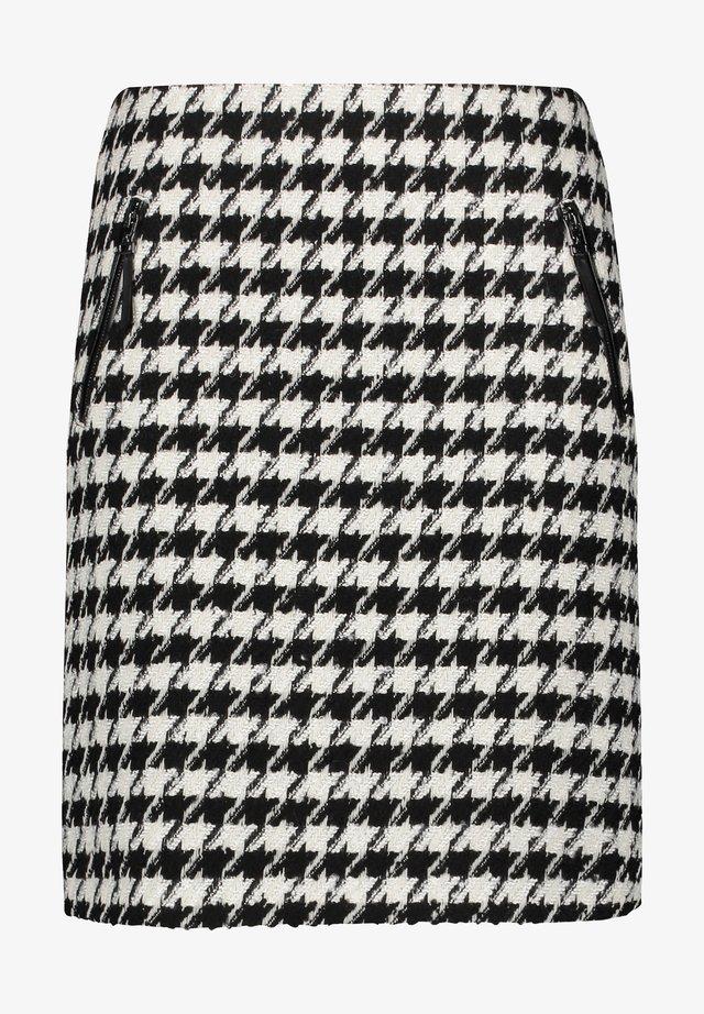 MIT HAHNENTRITTMUSTER - A-line skirt - schwarz/ecru/weiss gemustert