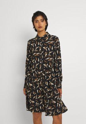 OBJLORENA DRESS - Shirt dress - blacka/sepia/sandshell