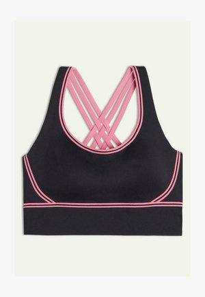 MIT INNENSEITE AUS SUPIMA - Medium support sports bra - black/ibis pink